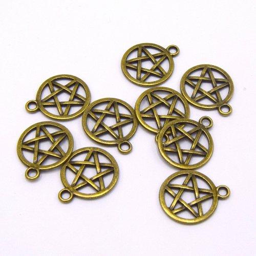 X5 pentagrammes étoiles sorcières bronze 22x 18mm b60