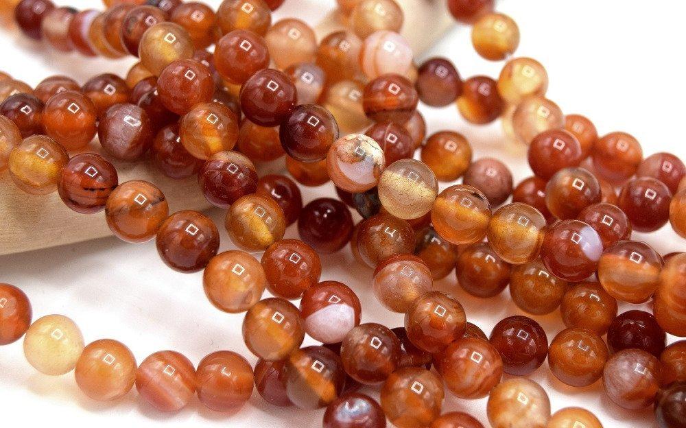x20 Perles agates rayées rondes 8mm orange rouge cornaline