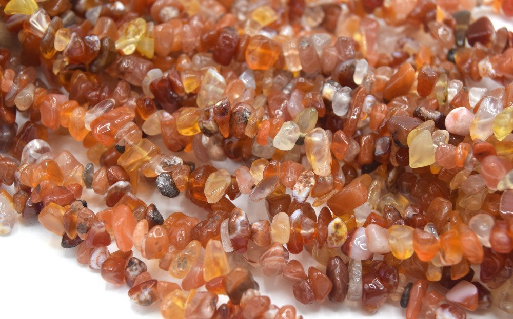 x50 perles agate rouge orange chips cornaline- Pearls stone coral red chips puces cornaline Agate naturelle 5~8x5~8 mm