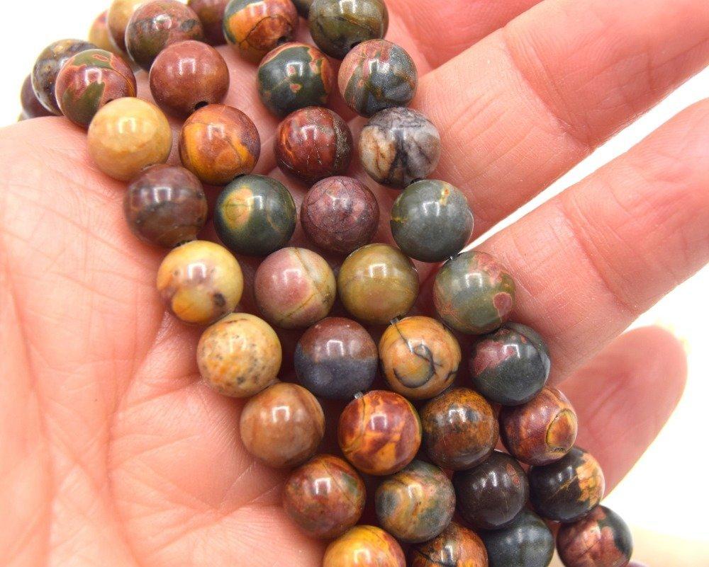 20 Perles Jaspe Picasso Naturelle , Perles Jaspe 8mm,  Picasso 8mm,
