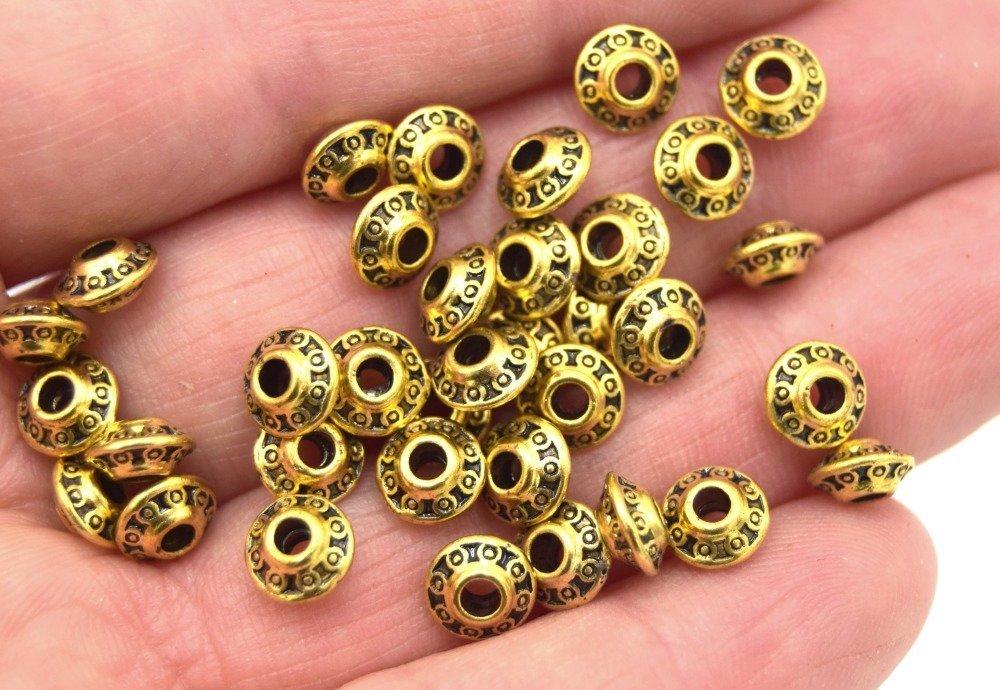 x20 Perles métal soucoupe Couleur or 6.5mm, perles doré gravé cercles antique PM025