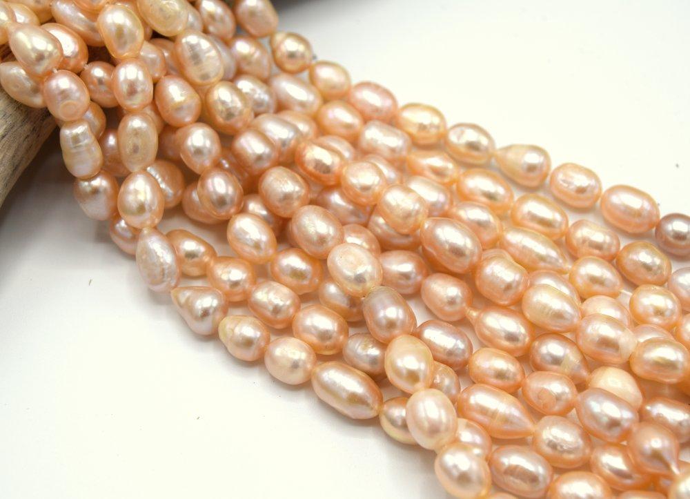 1 chapelet  de Perles d'eau douce abricot vintage nacré 8~12mm perle de nacre coquillage   PC16
