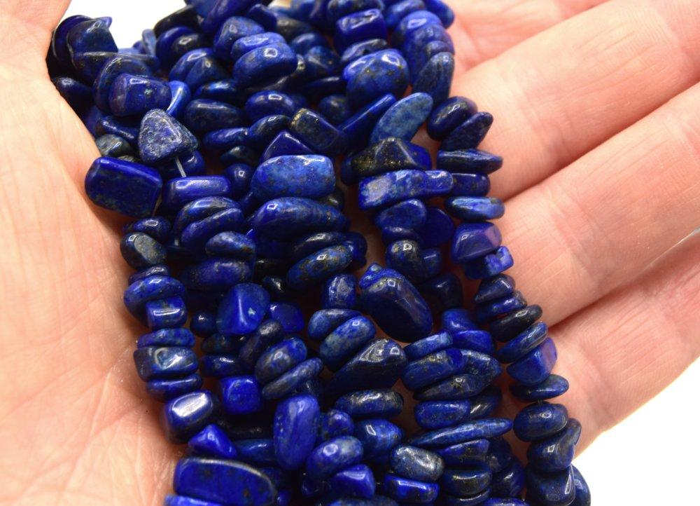 x100 Perles lapis lazuli chips pierre de gemmes