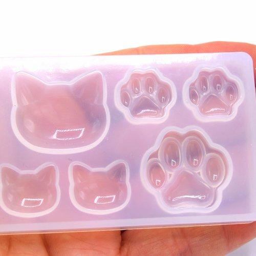 1 moule en silicone chat et pattes d'animaux, moules de résine, pour la résine uv, savon, polymère...