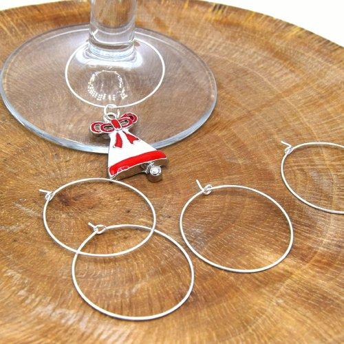 20 anneaux d'oreilles ø30mm laiton argent - anneaux de verre