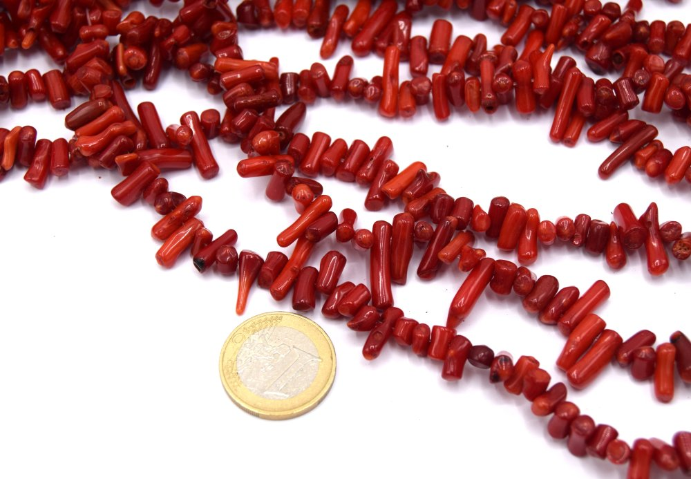 x50 Perles corail bambou rouge