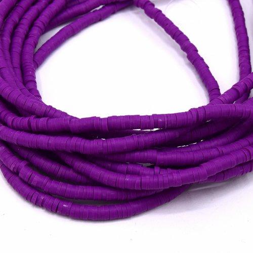 1 chapelet perles heishi  4mm en pâte polymère couleur violet ~39cm