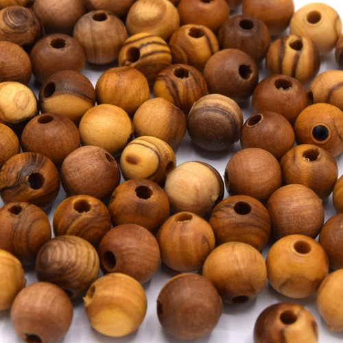 20 perles en bois olivier ronde 10 mm  produit francais