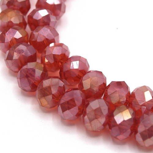 1 chapelet  cristal verre abaque électroplate rouge 8x6mm ref pfab17