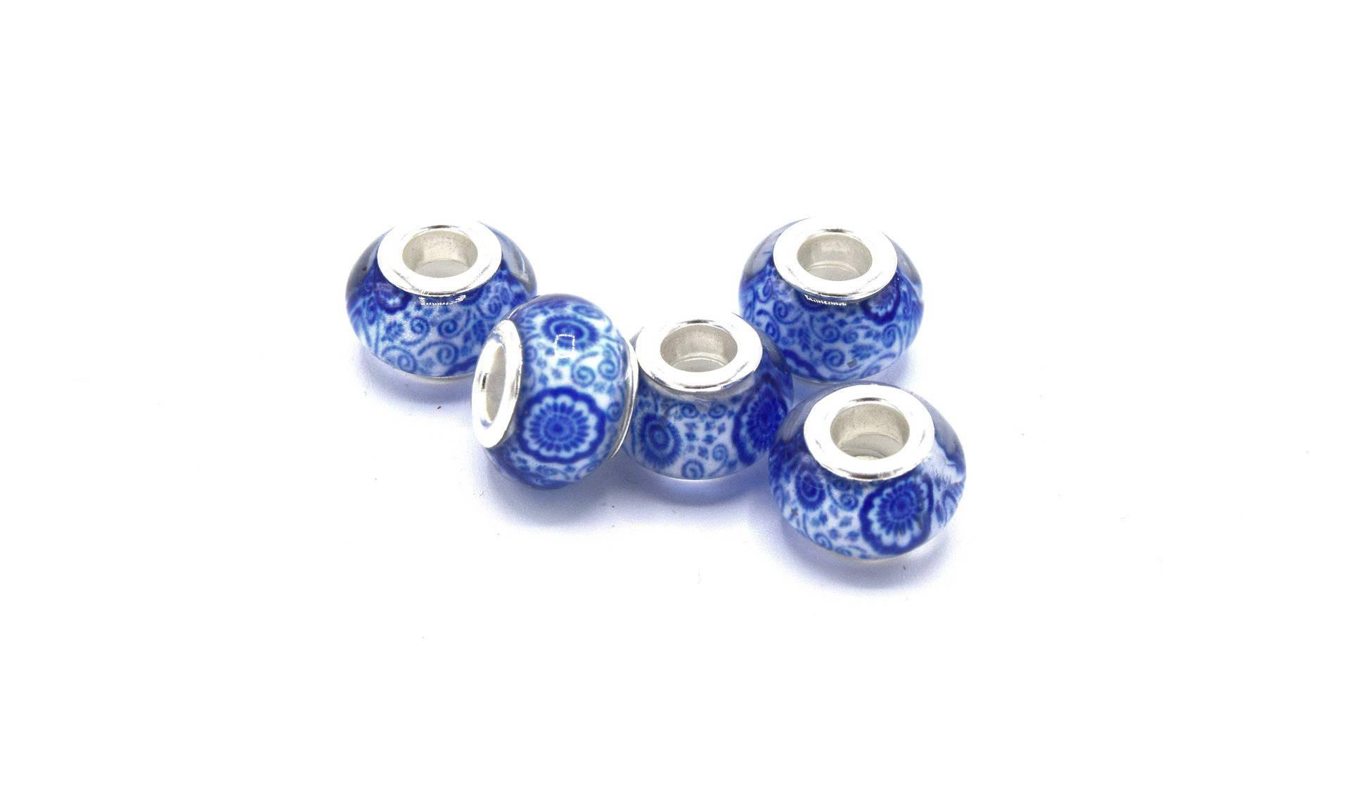 5 Perles  bracelet charms bleu porcelaine 14mm
