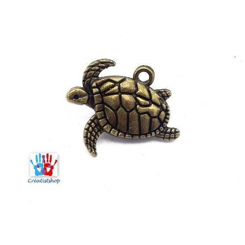 5 tortues de mer breloques bronze 21x17mm b27