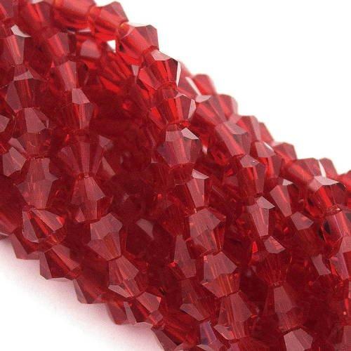 Lot 50 perles cristal Toupie bicone facette 4mm Rouge