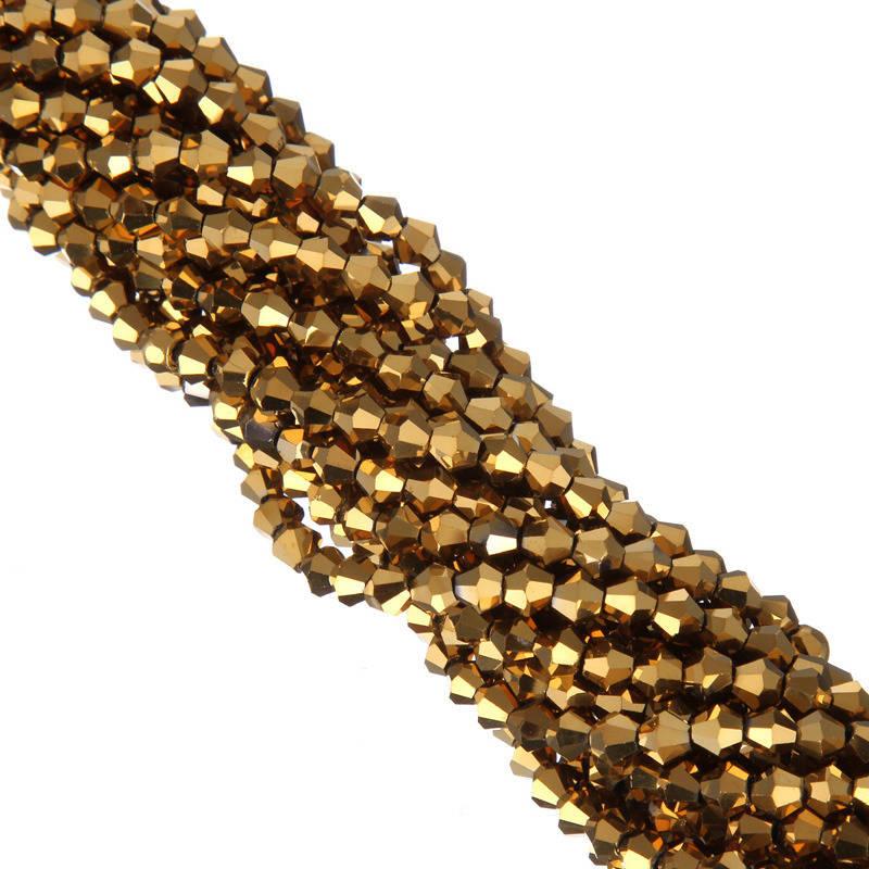 1 Brin de perles  à Facettes Cristal Verre toupie doré  4mm PFO2016A6D