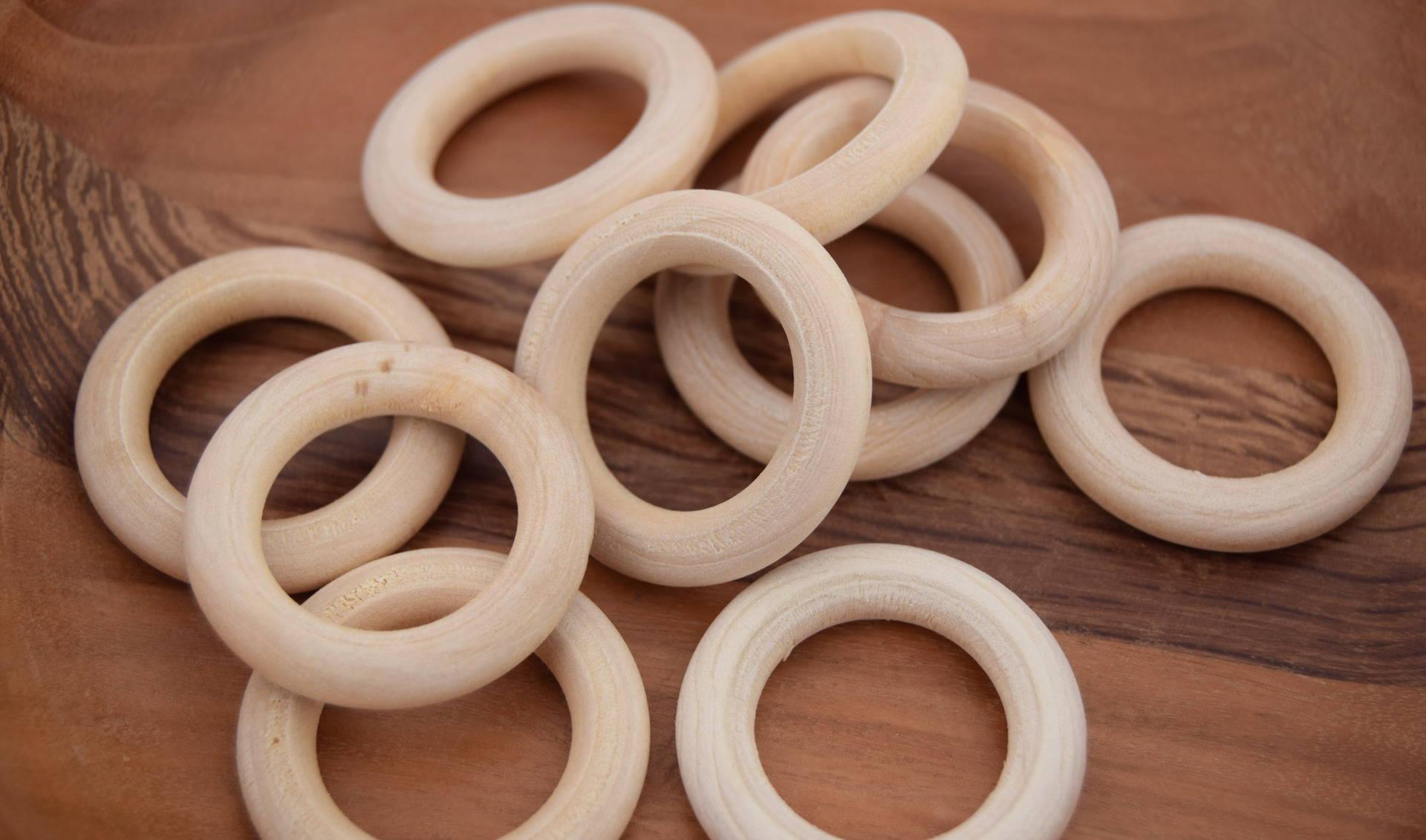 5 anneaux en bois naturel 34mm ref PB201604
