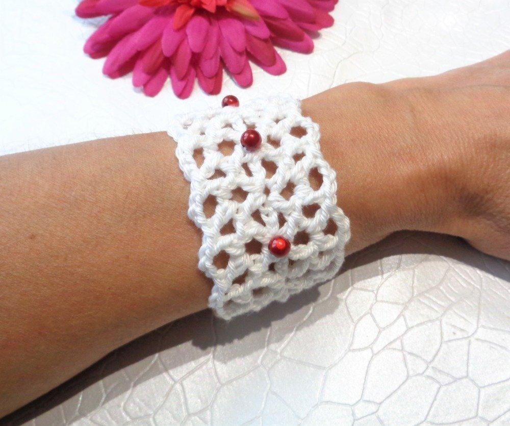 Parure tour de cou + bracelet crochetée main perles magiques rouges