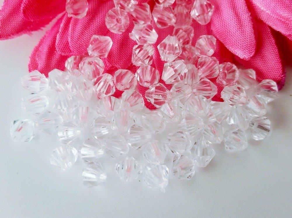 Gros lot 900 perles à facettes transparentes bicône 6mm