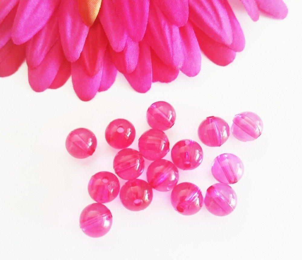 Gros lot 180 perles rondes 8 mm fuchsia acrylique