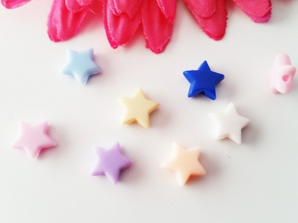 Gros lot 450 perles étoile coloris mélangés 10.5 x 9.5 mm