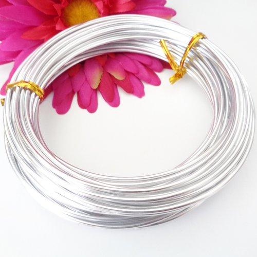 10 m de fil aluminium 2 mm couleur argent lisse