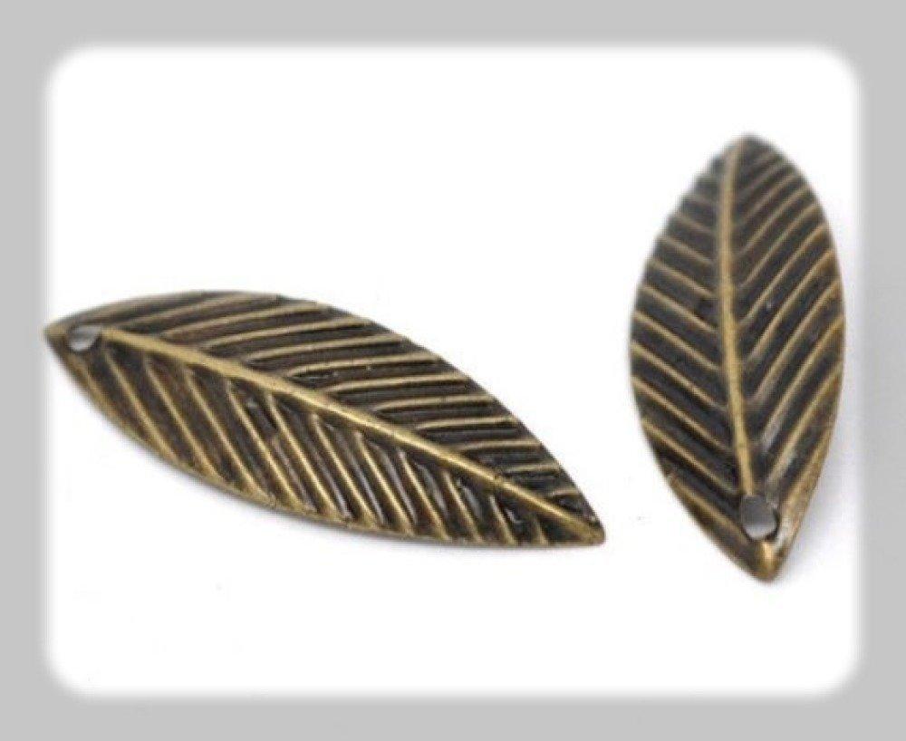 200 pendentifs feuille 21 mm x 7 mm couleur bronze