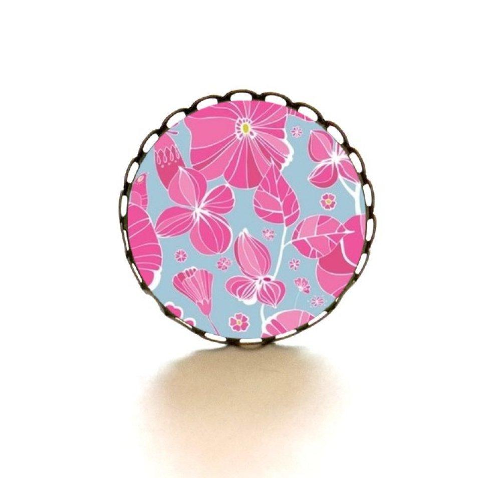 Bague bronze dentelée avec cabochon en verre * Fleurs roses *