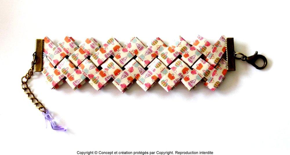 Bracelet manchette en papier plastifié de grande qualité ; 100% fait main * Collection Soleil 4 *