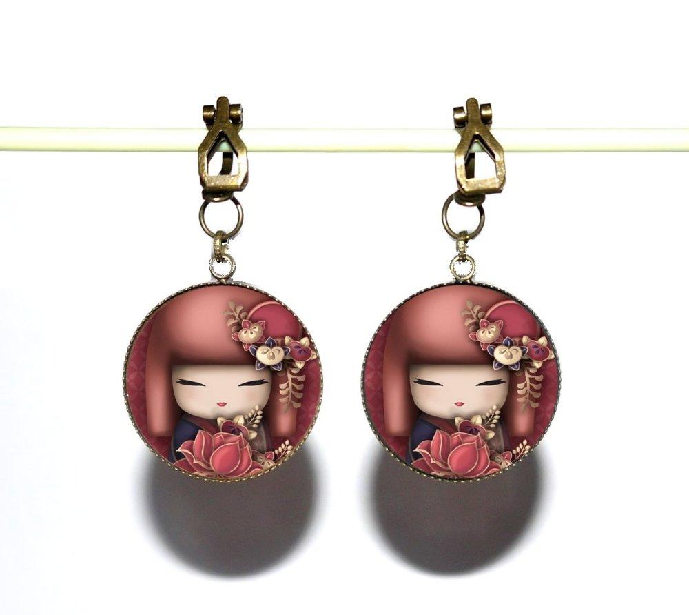 Clips d'oreilles bronze avec cabochons synthétiques * Kokeshis * 9