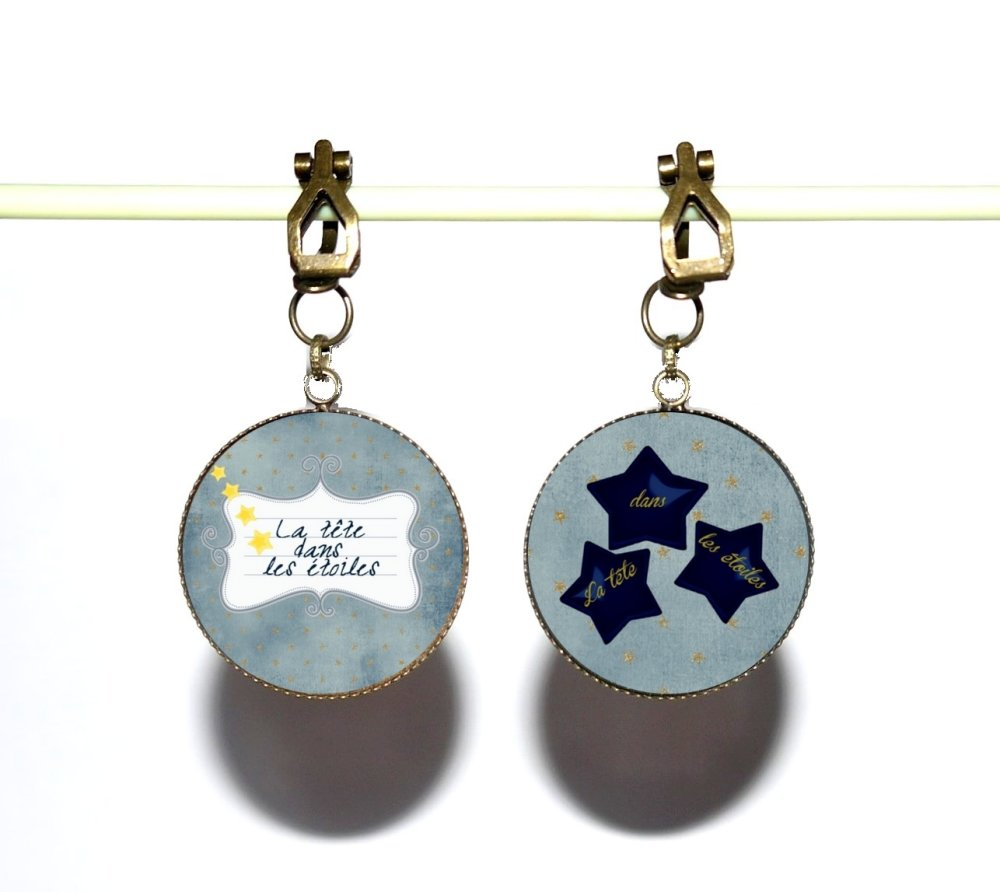 Clips d'oreilles bronze avec cabochons synthétiques * La tête dans les étoiles *