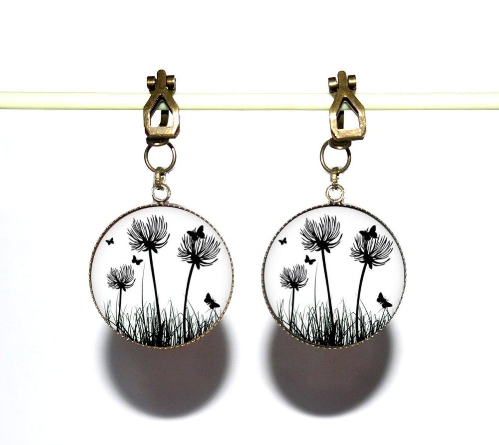 Clips d'oreilles bronze avec cabochons en résine * Dandelions *