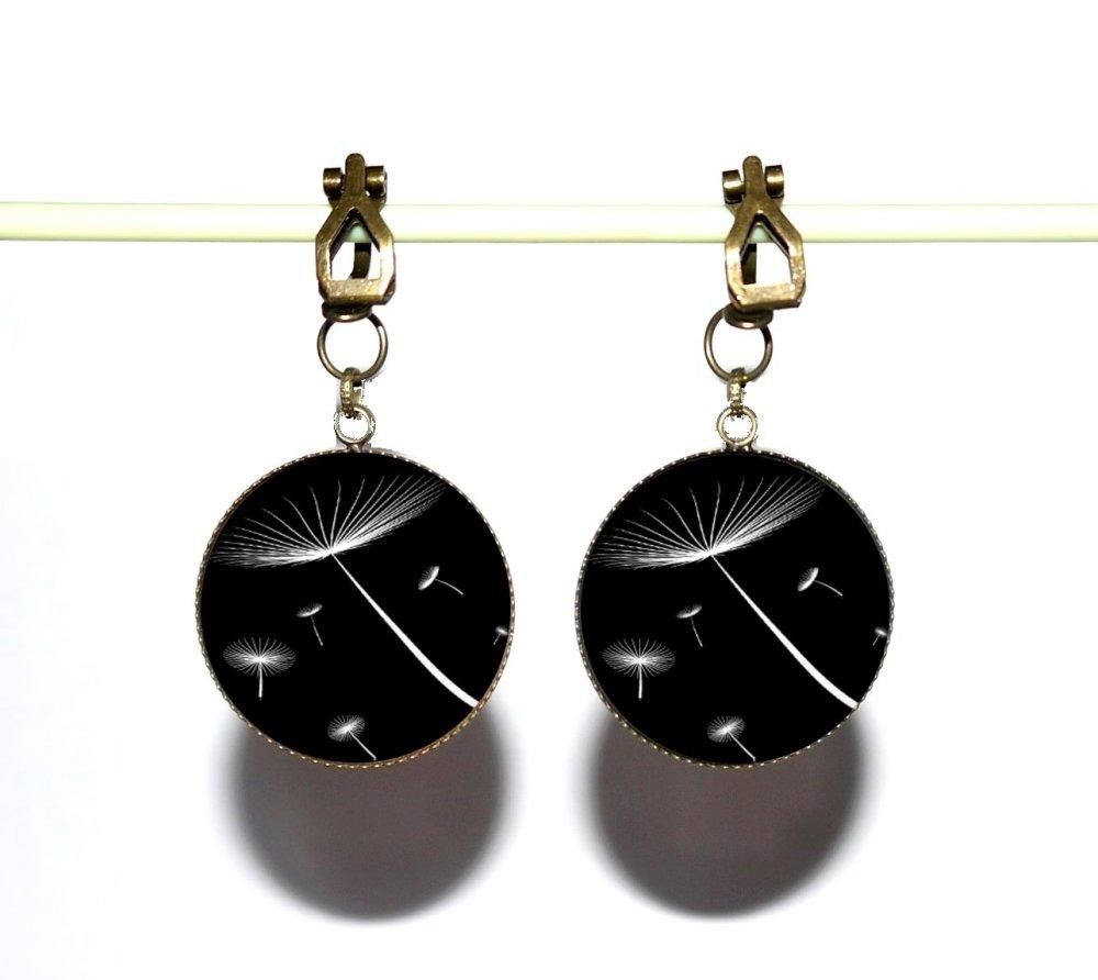 Clips d'oreilles bronze avec cabochons synthétiques * Dandelions * 2
