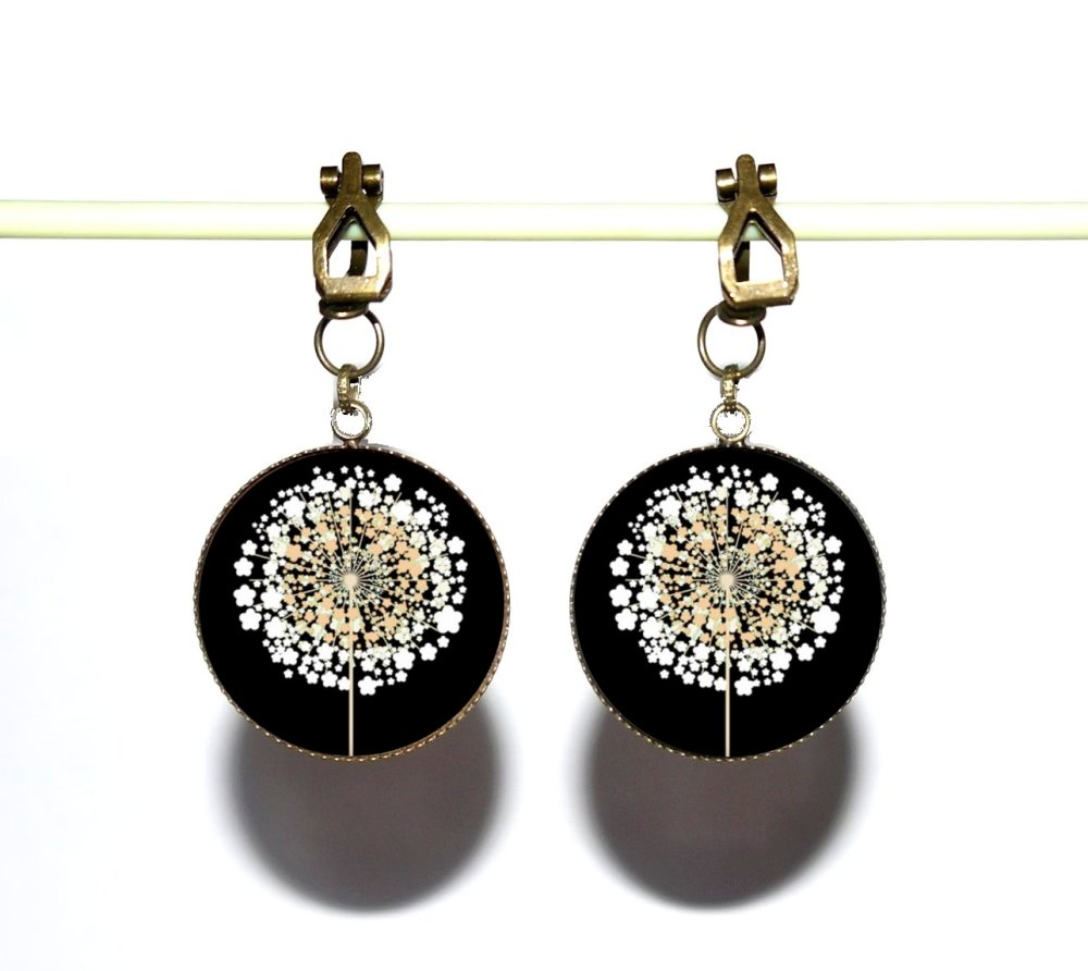 Clips d'oreilles bronze avec cabochons synthétiques * Dandelions * 3