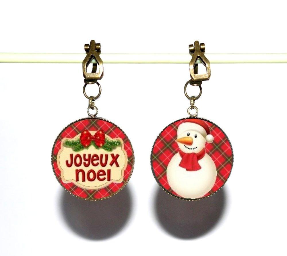 Clips d'oreilles bronze avec cabochons synthétiques * Joyeux Noël * 3