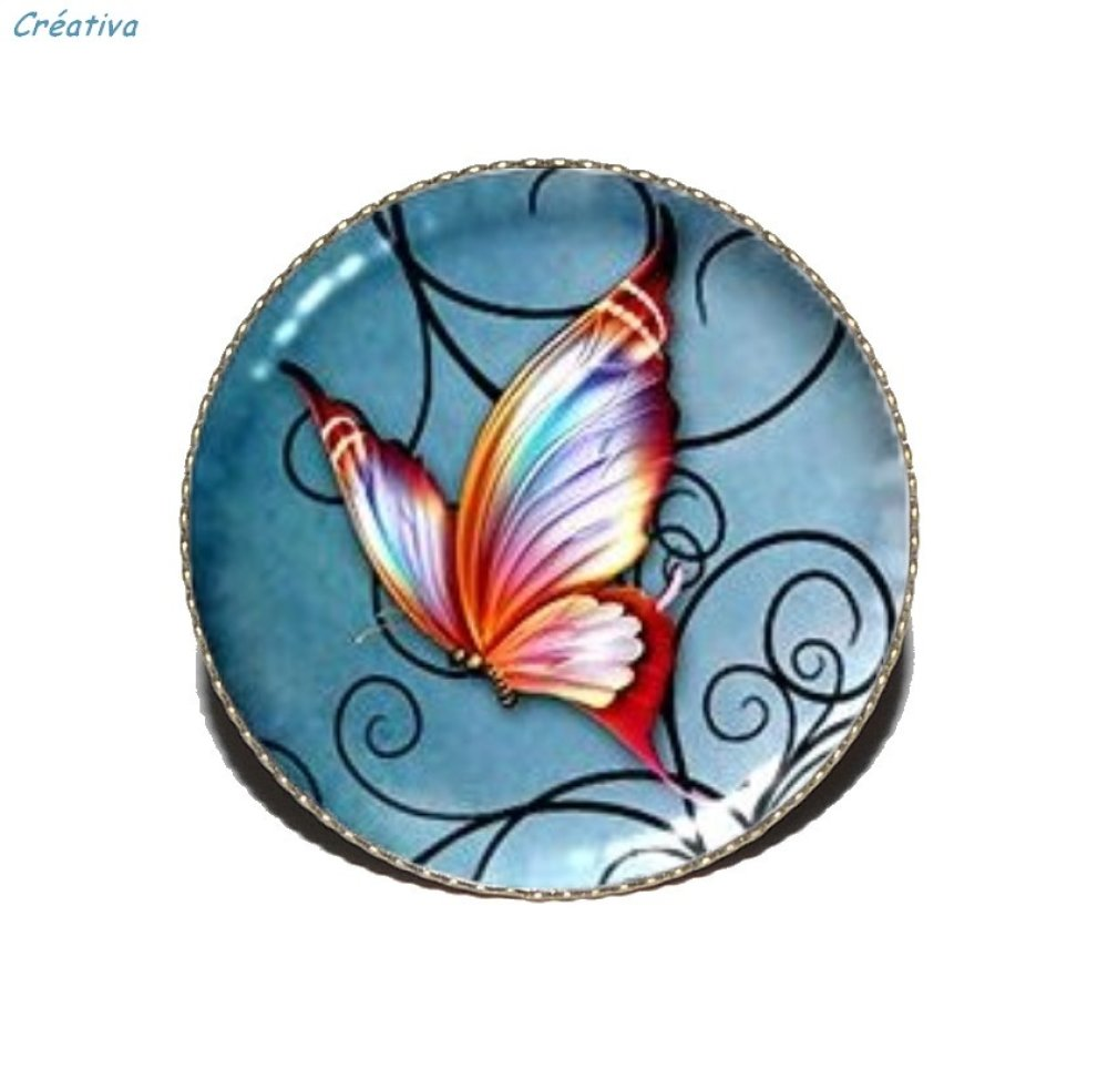 Bague bronze avec cabochon en résine * Papillon volutes * 2