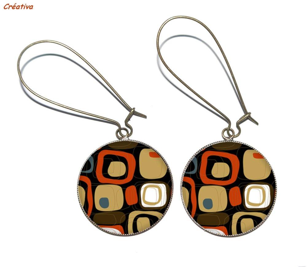 Boucles d'oreilles bronze avec cabochons en résine * Formes géométriques *