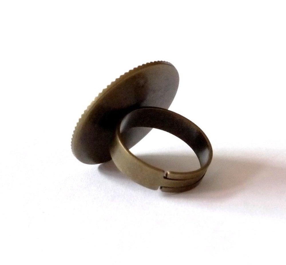Bague bronze avec cabochon en résine * Coquelicots * 6