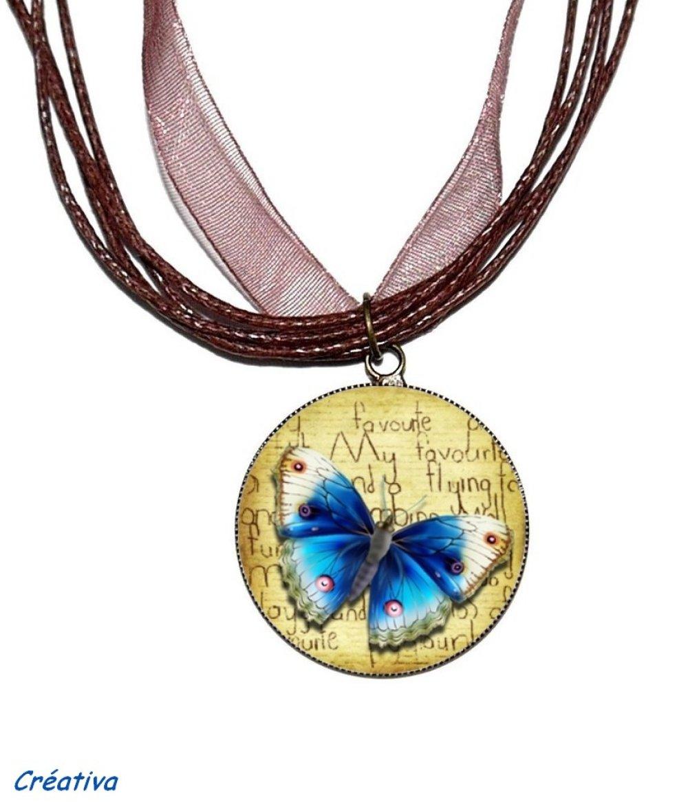Bague bronze avec cabochon en résine * Papillon bleu * 4