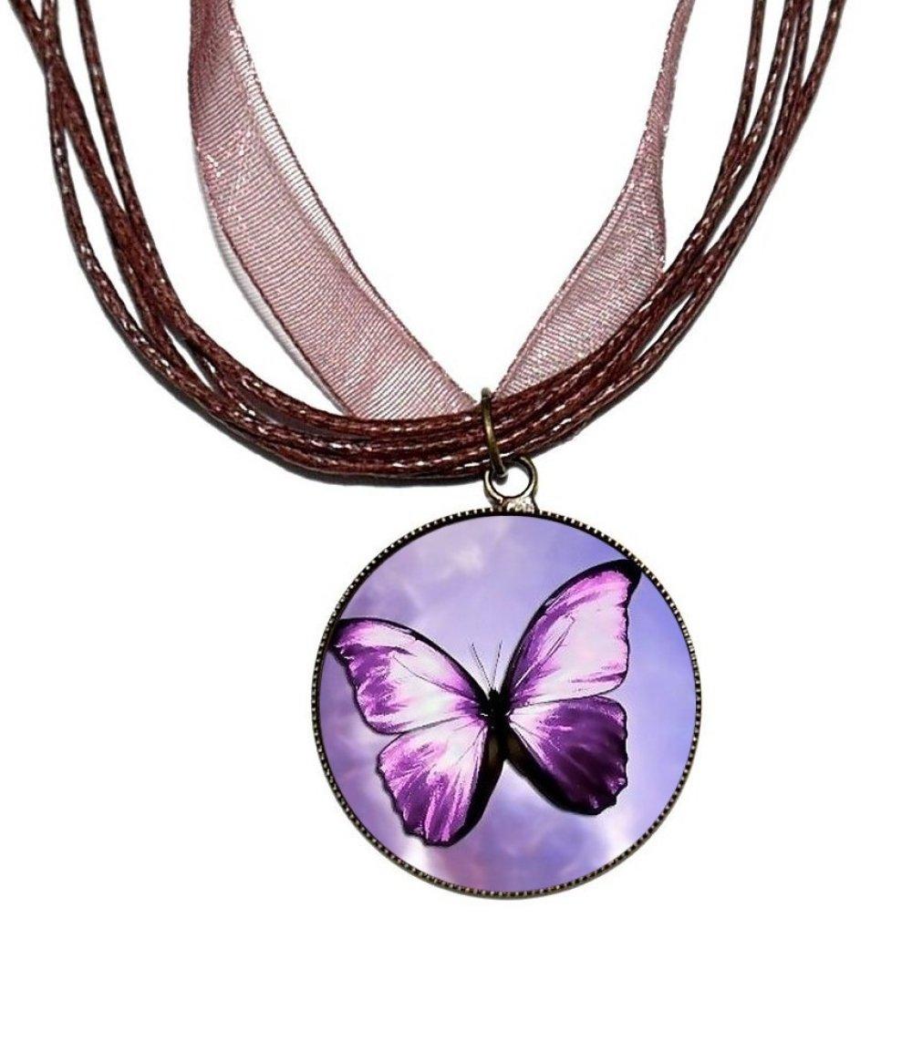 Boucles d'oreilles bronze avec cabochons en résine * Papillon violet *