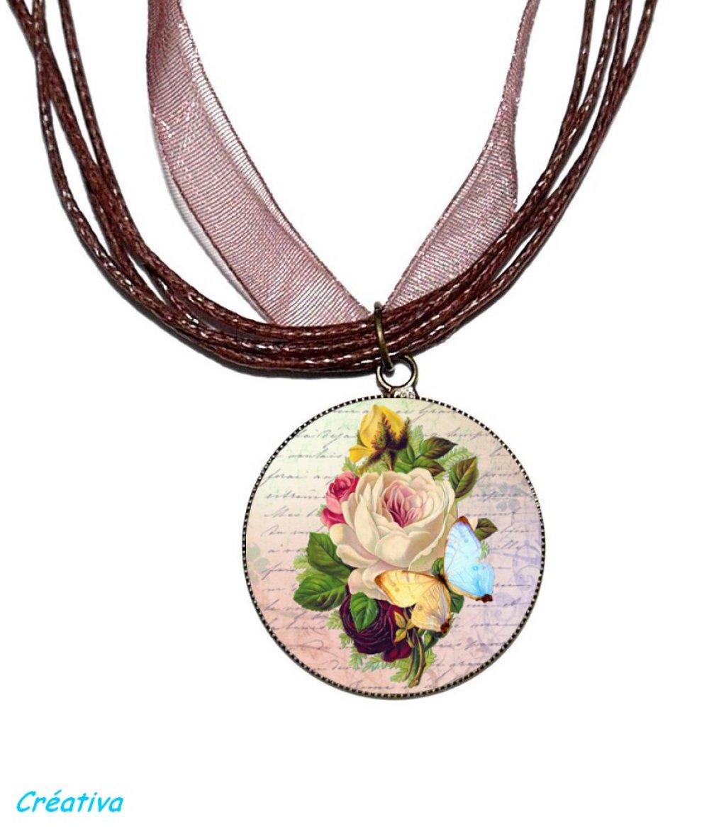 Bague bronze avec cabochon en résine * Fleurs vintage *