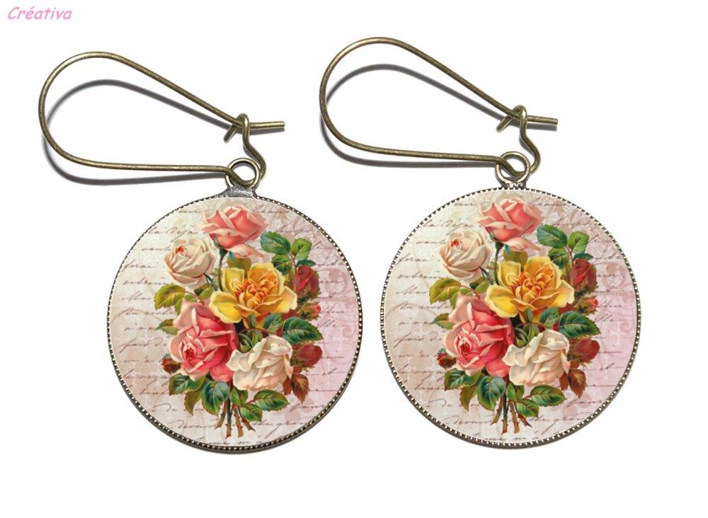 Boucles d'oreilles bronze avec cabochons en résine * Fleurs vintage * 2