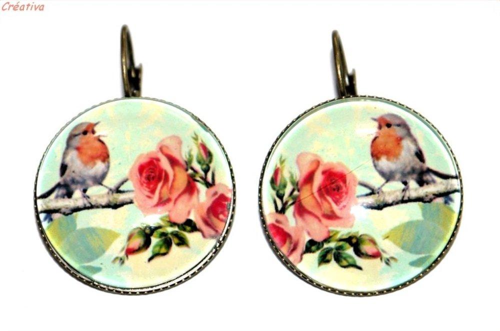 Boucles d'oreilles bronze avec cabochons en verre * Oiseaux * 4