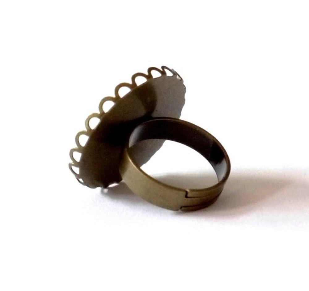 Bague bronze dentelée avec cabochon en résine * Envol des papillons * 5