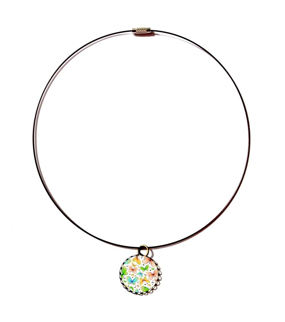 Collier tour de cou câblé dentelé bronze avec cabochon en résine * Envol des papillons * 5
