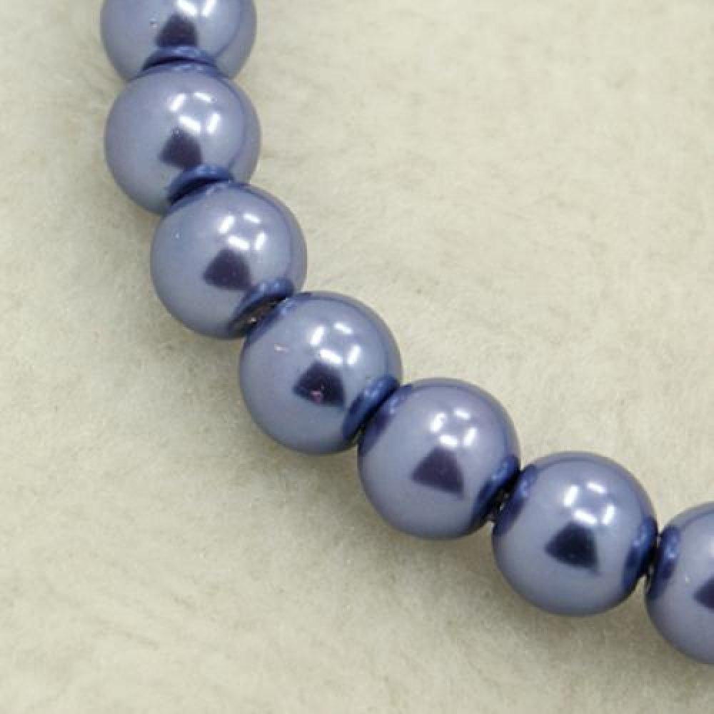 Lot de 20 perles nacrées coloris bleu lavande 6mm