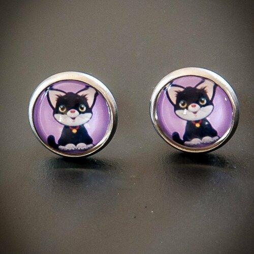 Boucles d'oreilles enfant chat noir, boucles d'oreilles puce cabochon, bijoux enfant, bijoux chaton, cabochon verre, acier inoxydable argent
