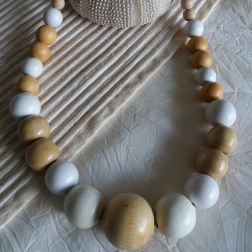 Collier perle de bois