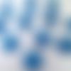 18 cabochons rond résine bleu paillettes 8mm