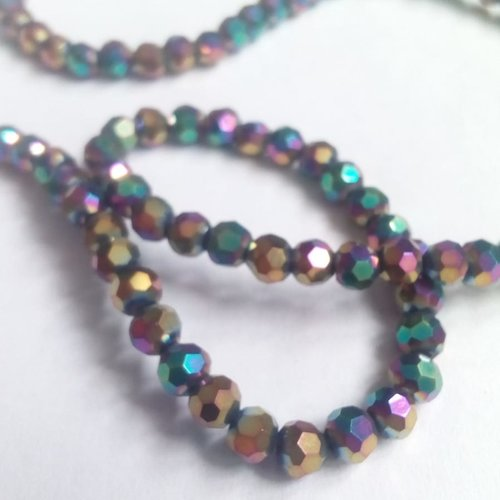 50 perles verre rondes facettes multicolore 3mm