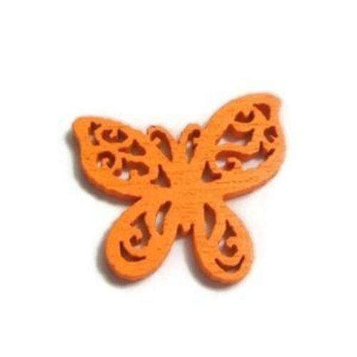 Connecteur bois papillon filigrane orange 25x22mm