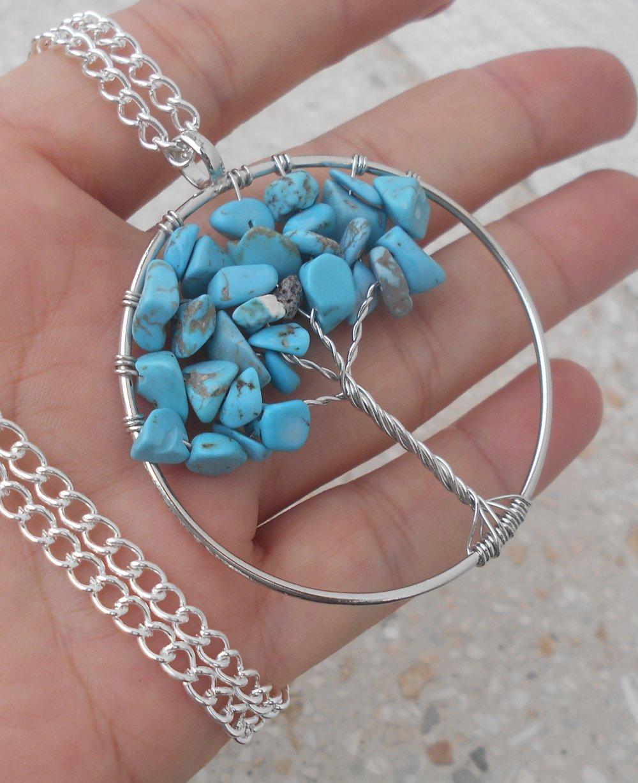 Collier sautoir arbre de vie pierre naturelle