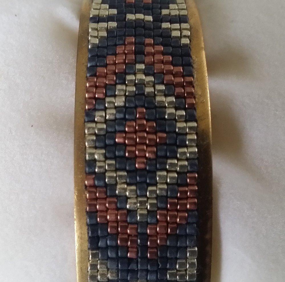 Bracelet tissé monté sur jonc, ajustable tout poignet, perles miyuki